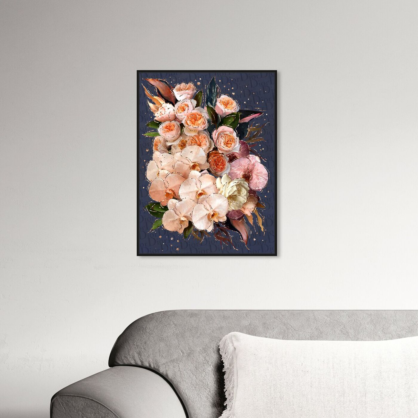 Hanging view of Golden Creamy Bouquet featuring floral and botanical and florals art.