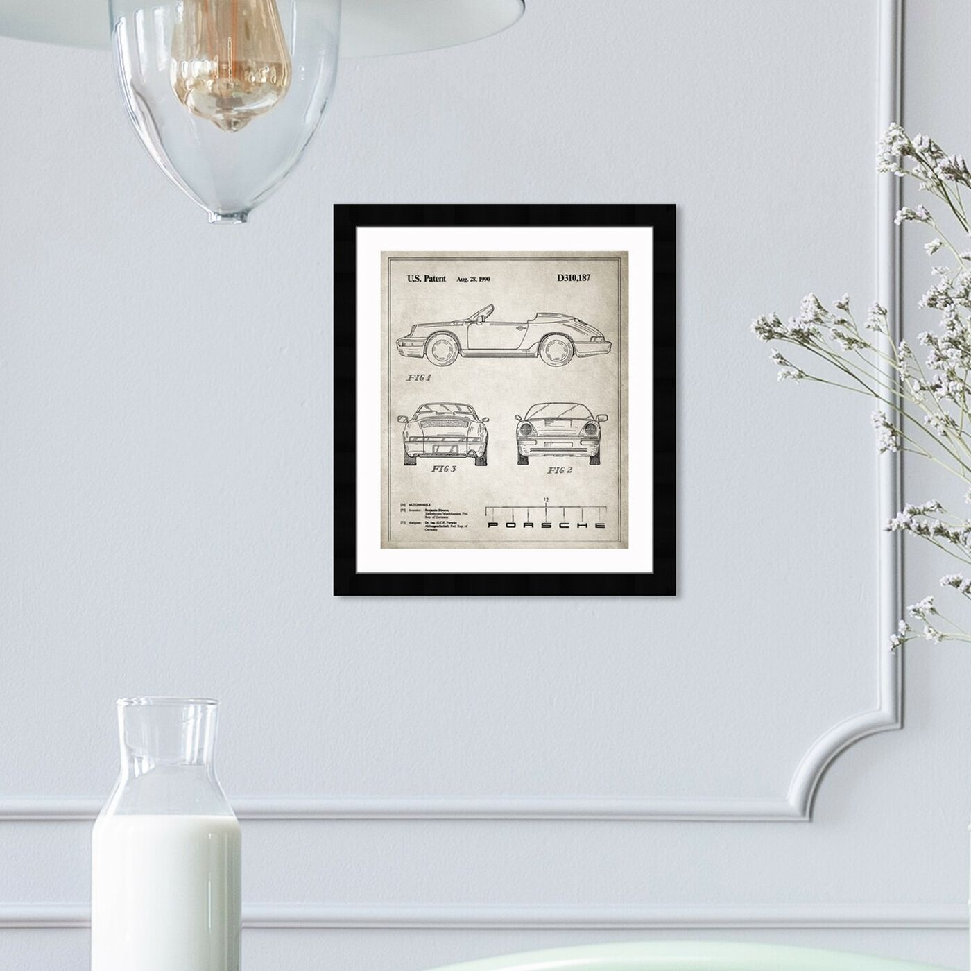 Hanging view of Porsche 911, 1990 - Gray featuring transportation and automobiles art.