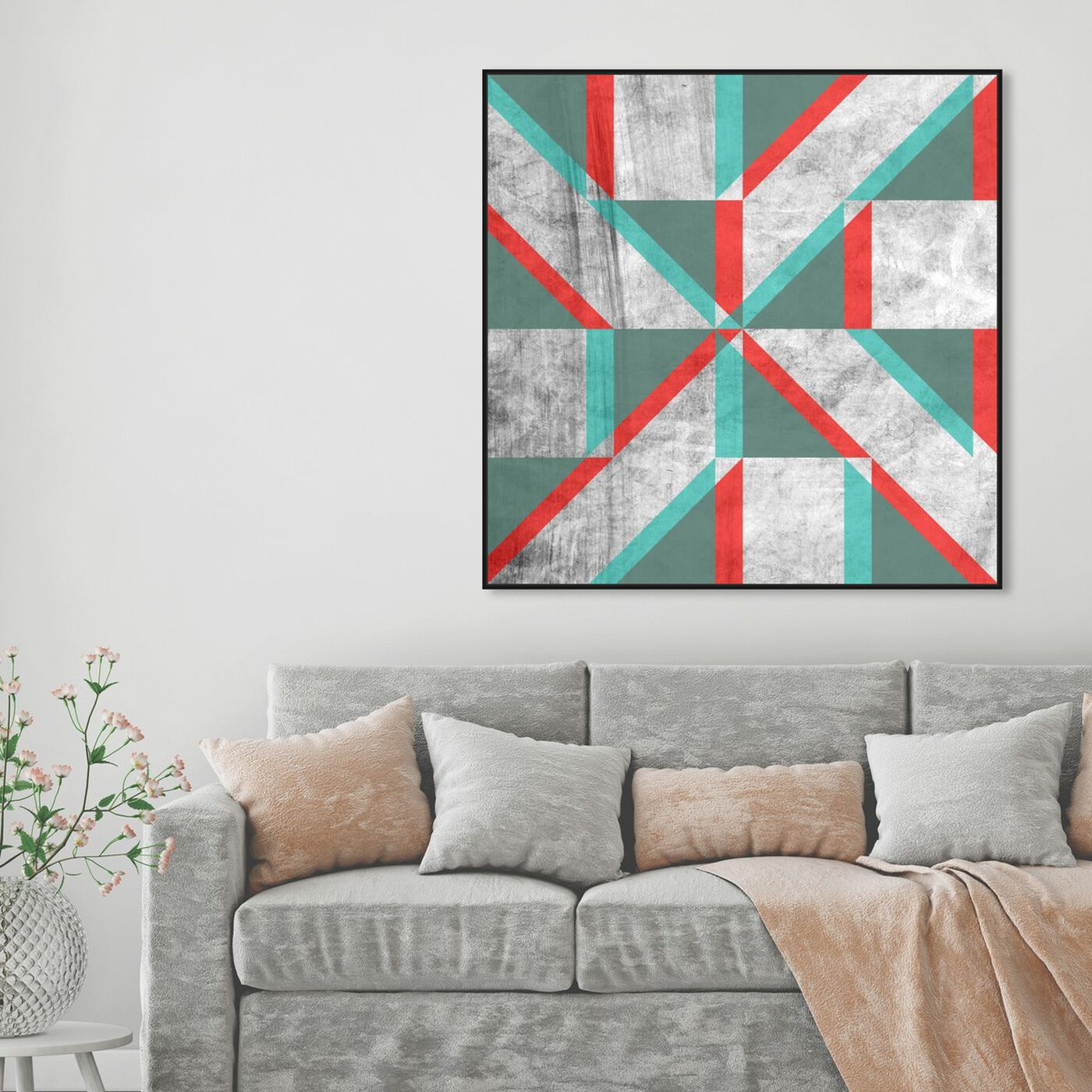 Hanging view of Falling Shape featuring abstract and geometric art.