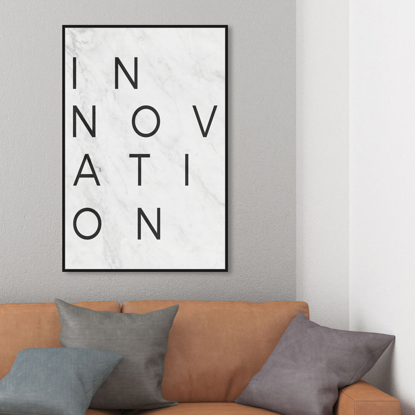 Hanging view of Innovation Minimalist Marble Paper featuring typography and quotes and motivational quotes and sayings art.