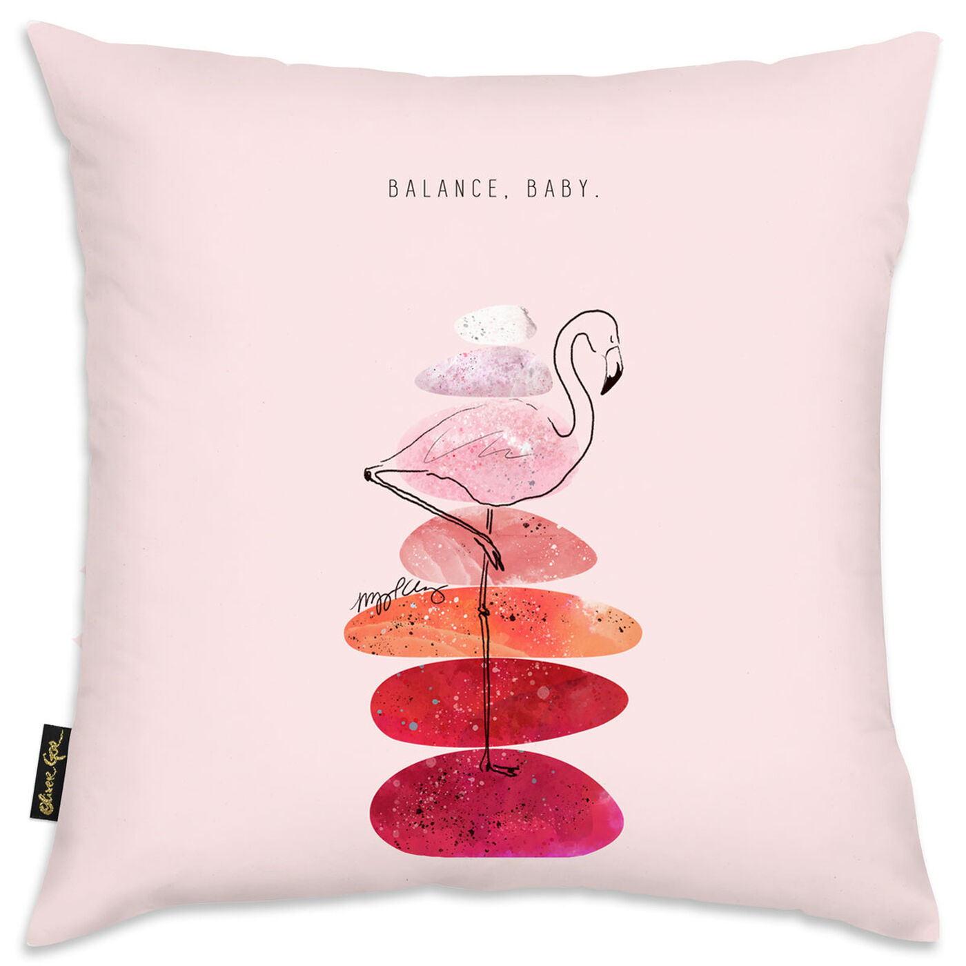 Flamingo and Stacked Stones Pillow by Maggie P. Chang I