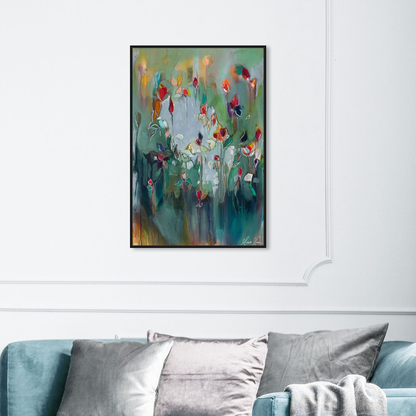 Hanging view of pale blue influence 2 by Michaela Nessim featuring abstract and paint art.