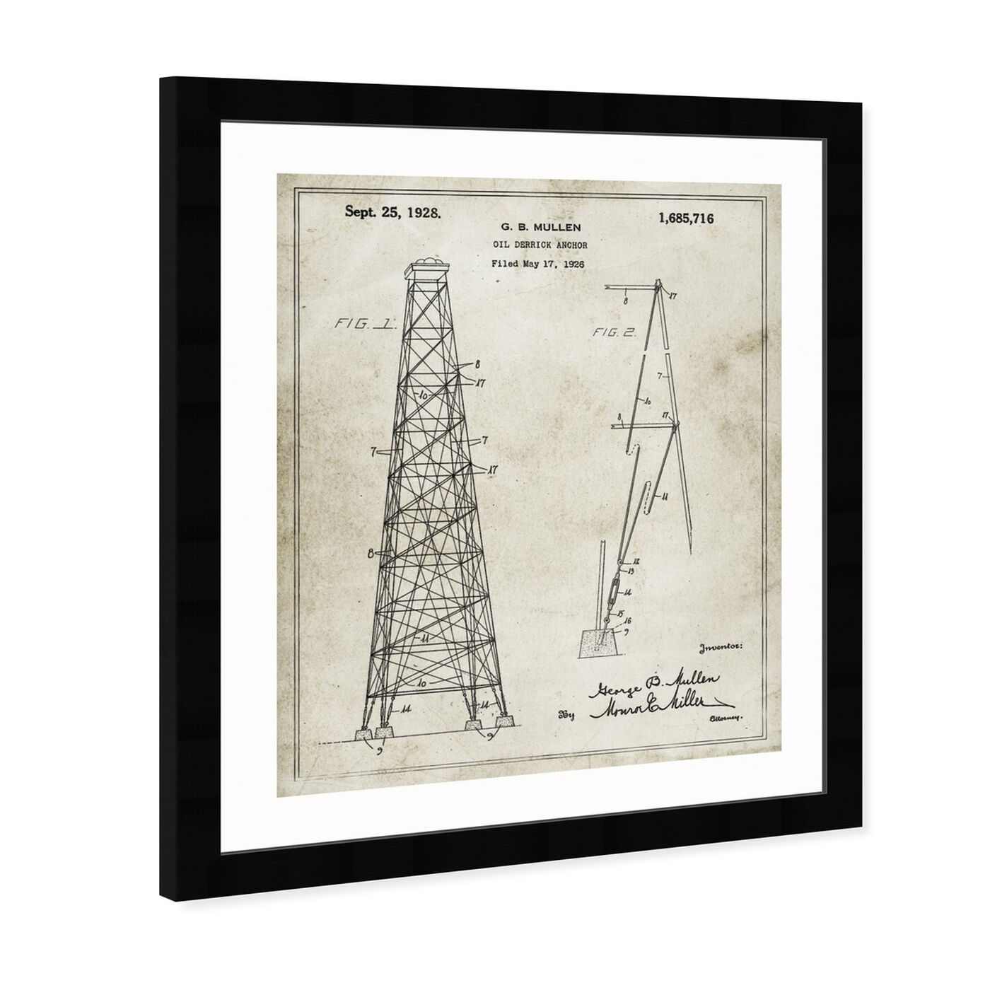 Angled view of Oil-Derrick Anchor 1928 art.