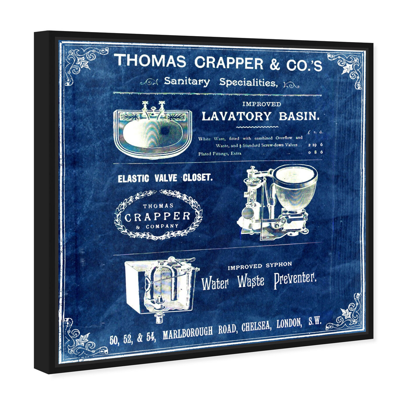 Angled view of Thomas Crapper Inventor of the Toilet - Blue featuring bath and laundry and bath art.