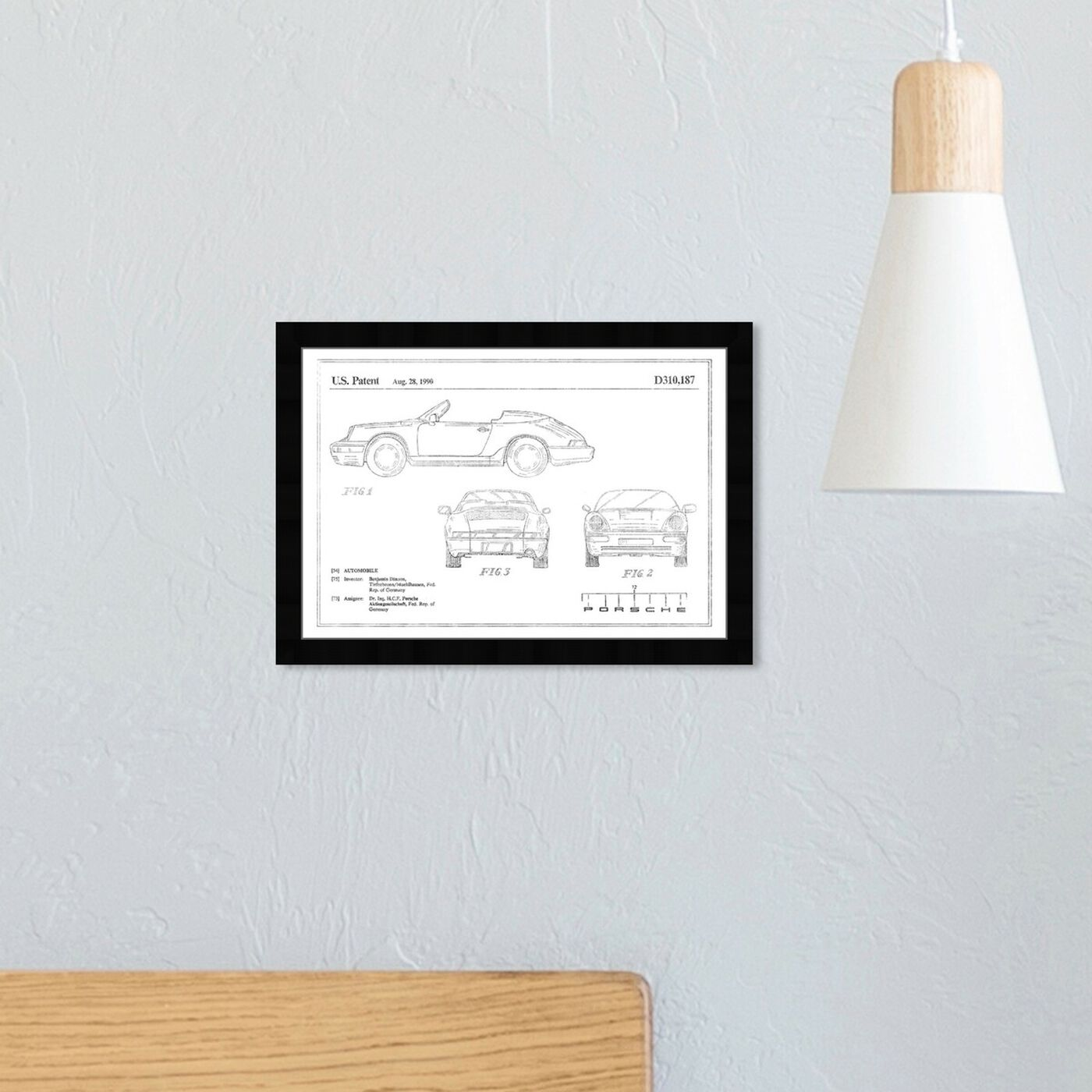 Hanging view of Porsche 911 1990, Silver Foil featuring transportation and automobiles art.