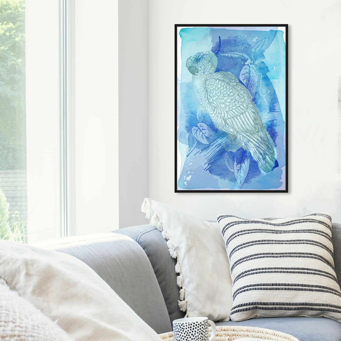 Hanging view of Fly and Fade featuring animals and birds art.