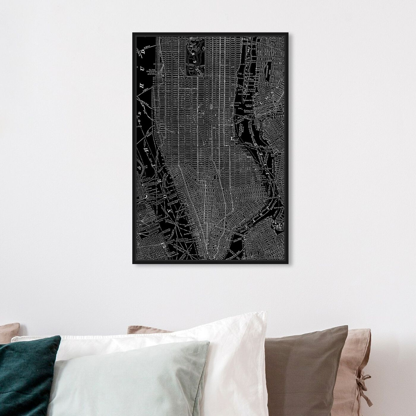 Hanging view of Phylum Design The City That Never Sleeps featuring maps and flags and us cities maps art.