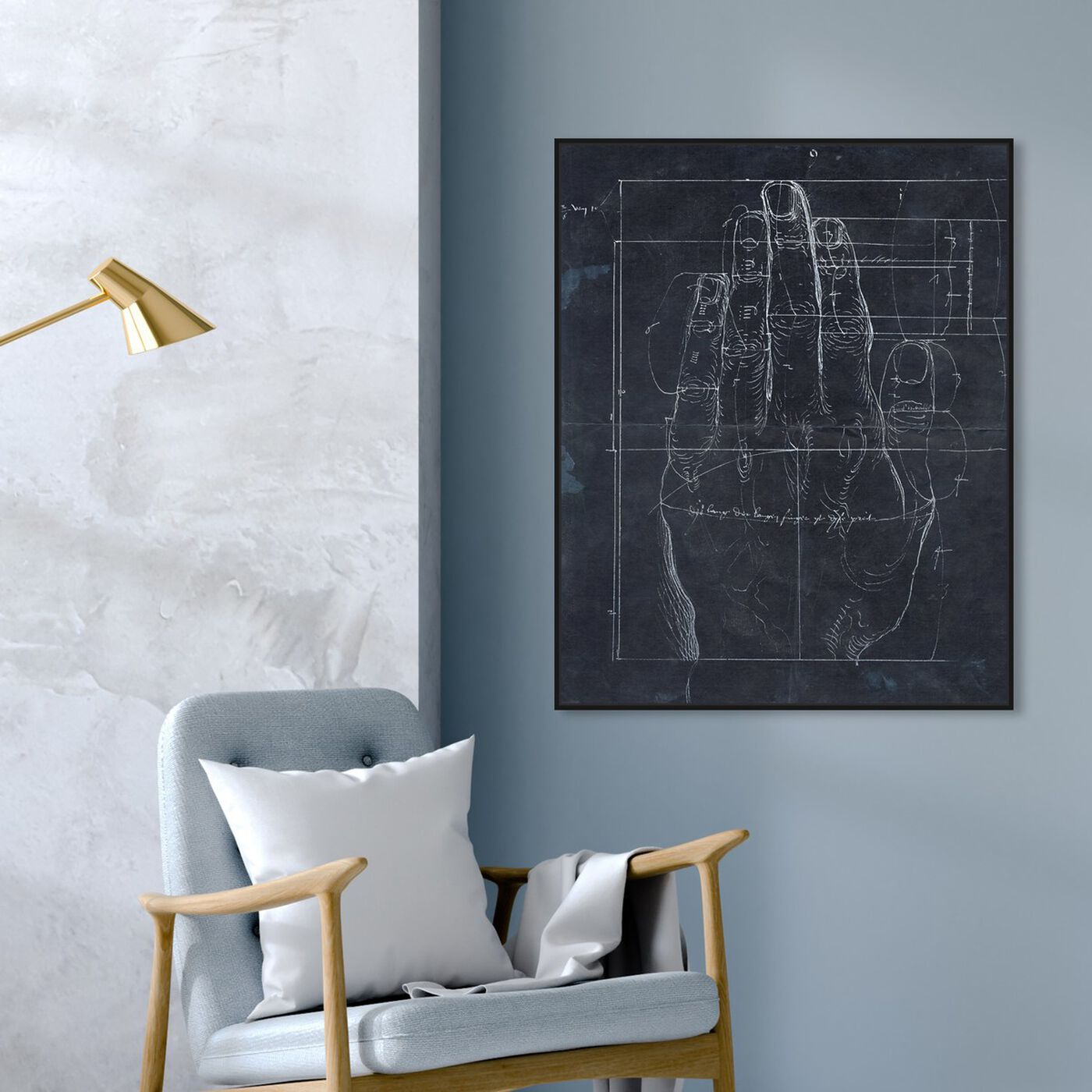 Hanging view of Dürer Hand Engraving 1513 featuring abstract and geometric art.