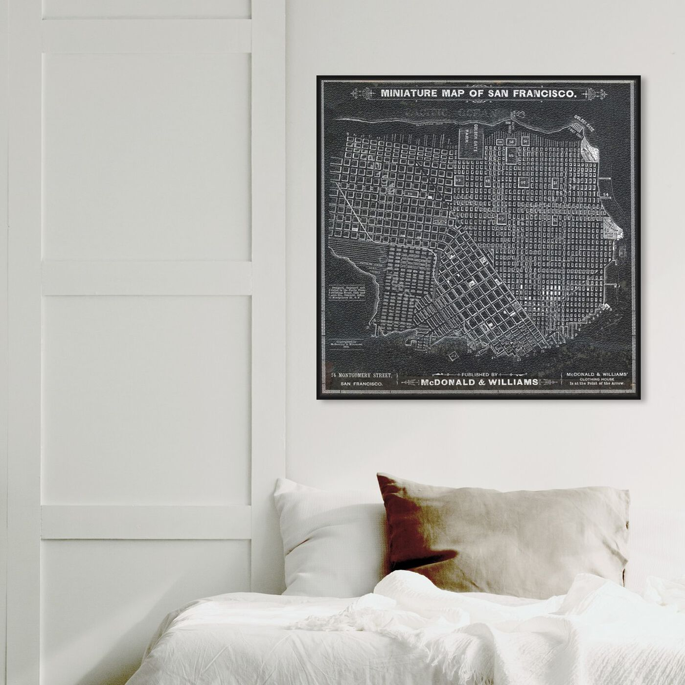 Hanging view of San Francisco Map 1879 featuring maps and flags and us cities maps art.