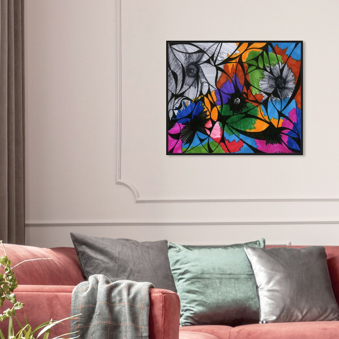Hanging view of Summer Bloom featuring abstract and flowers art.