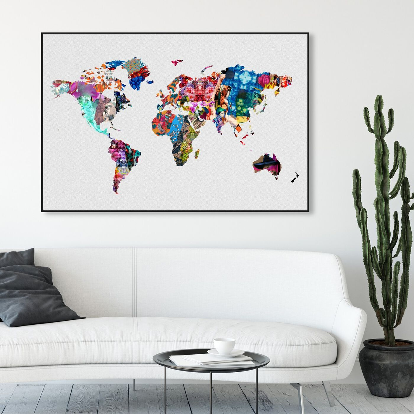 Hanging view of Mapamundi featuring maps and flags and world maps art.