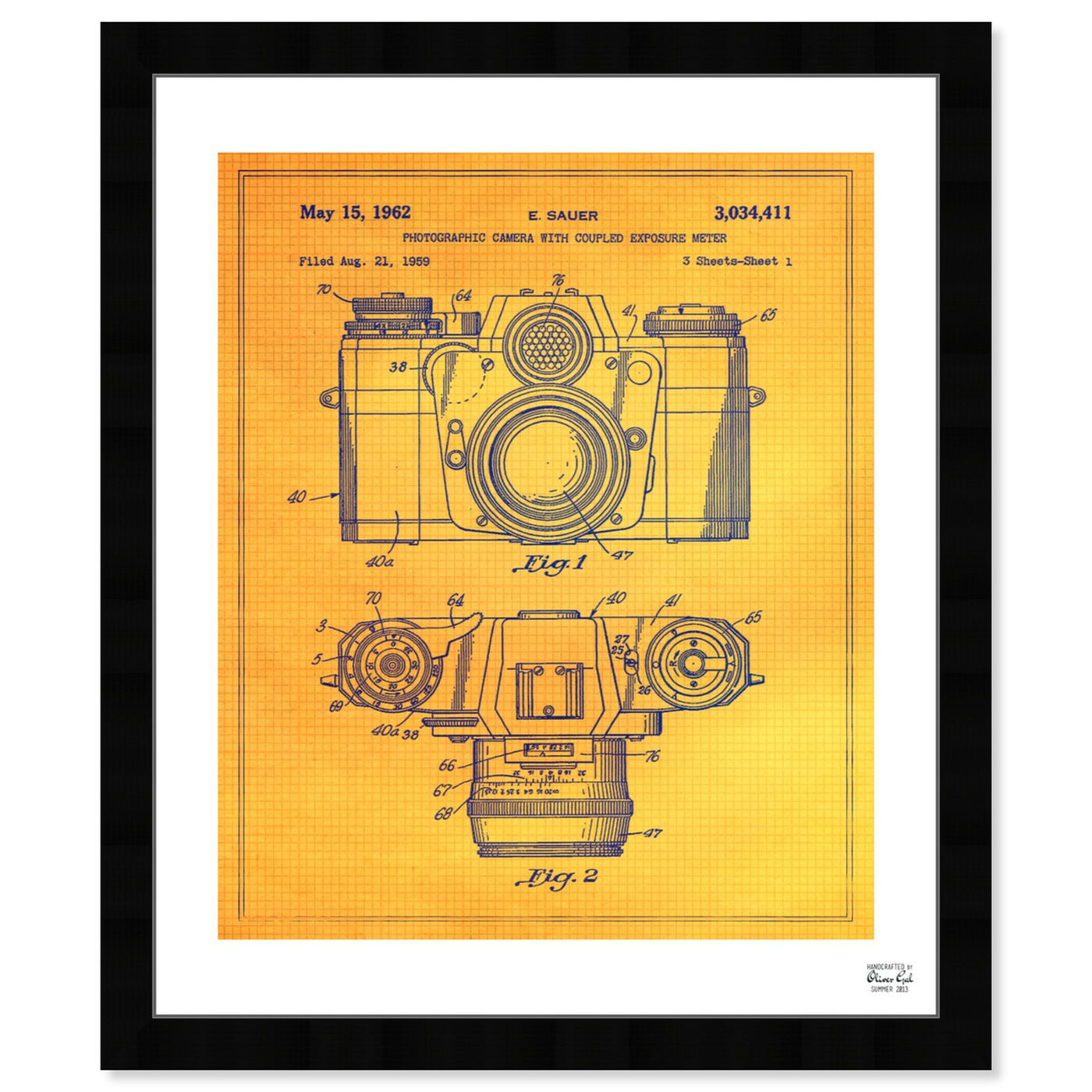 Front view of Sauer Photographic Camera 1962 featuring entertainment and hobbies and photography art.