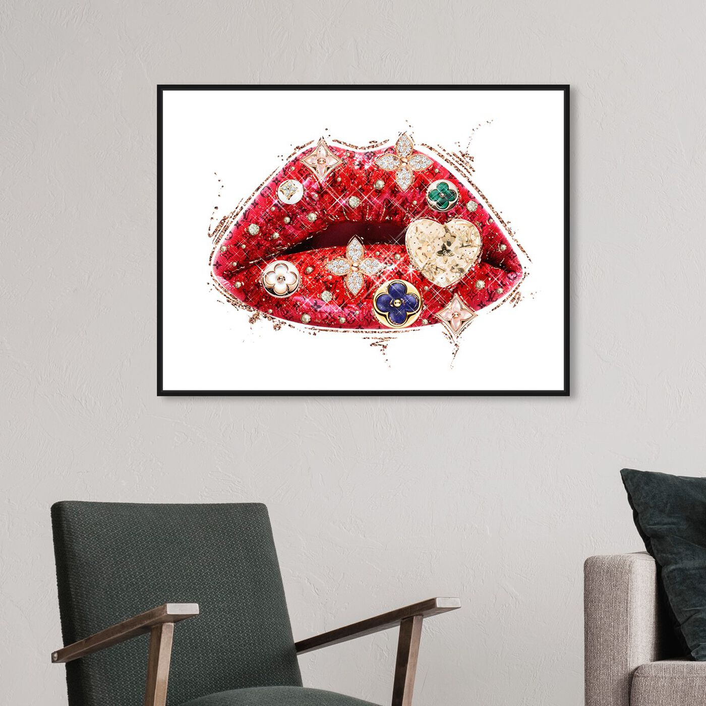 Hanging view of Louis Lips and Gems featuring fashion and glam and lips art.
