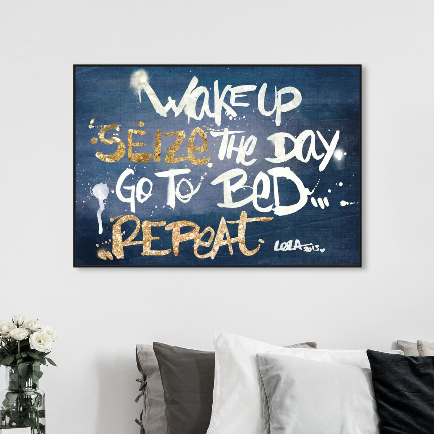 Hanging view of Seize it Denim featuring typography and quotes and motivational quotes and sayings art.