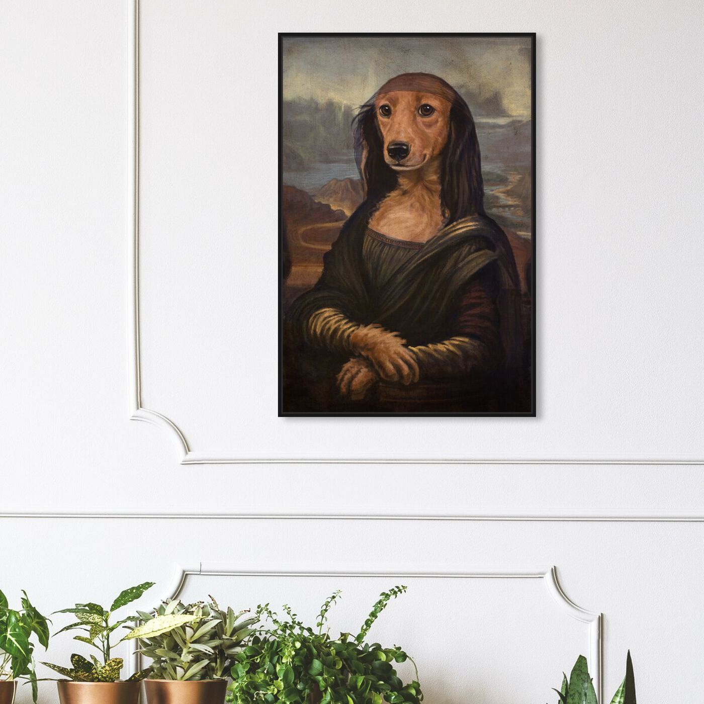 Hanging view of Mutt-a-Lisa By Carson Kressley featuring animals and dogs and puppies art.