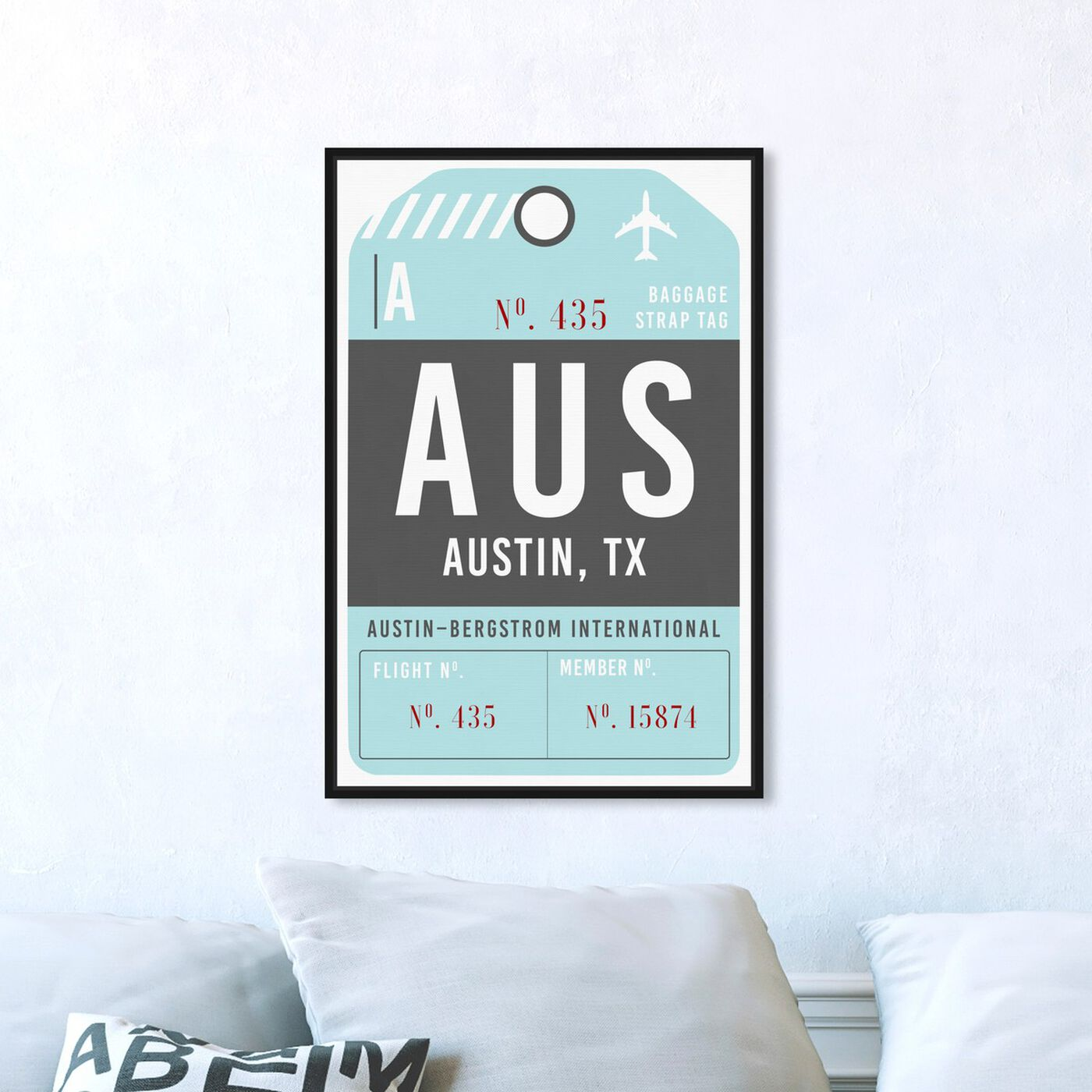 Hanging view of Austin Luggage Tag featuring typography and quotes and united states cities art.