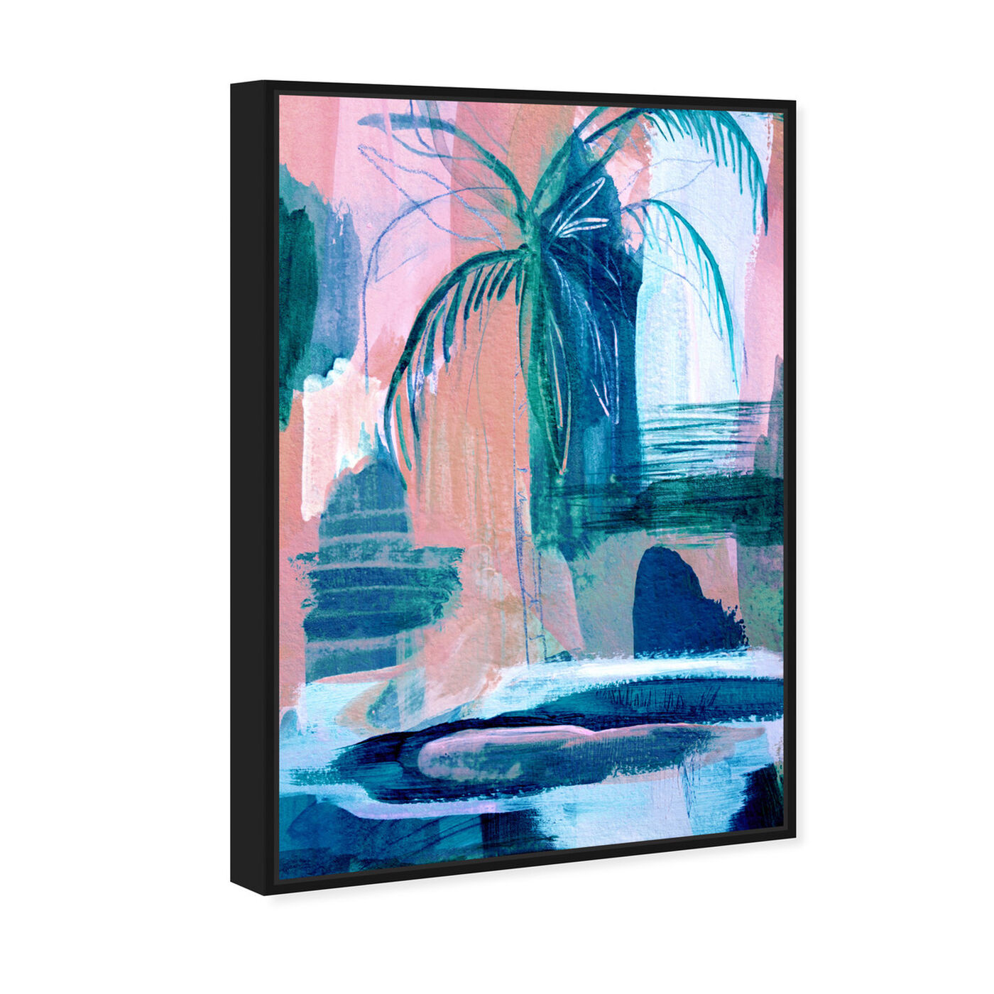 Angled view of Tropical Palm Tree featuring floral and botanical and botanicals art.