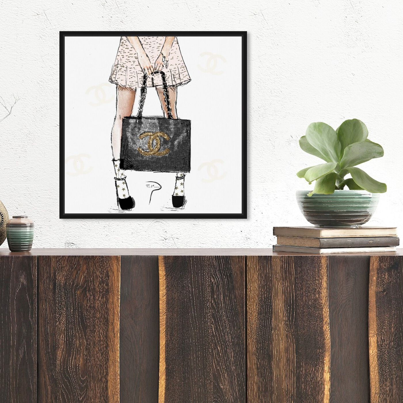 Hanging view of Pily Montiel - Tweed Girl featuring fashion and glam and outfits art.