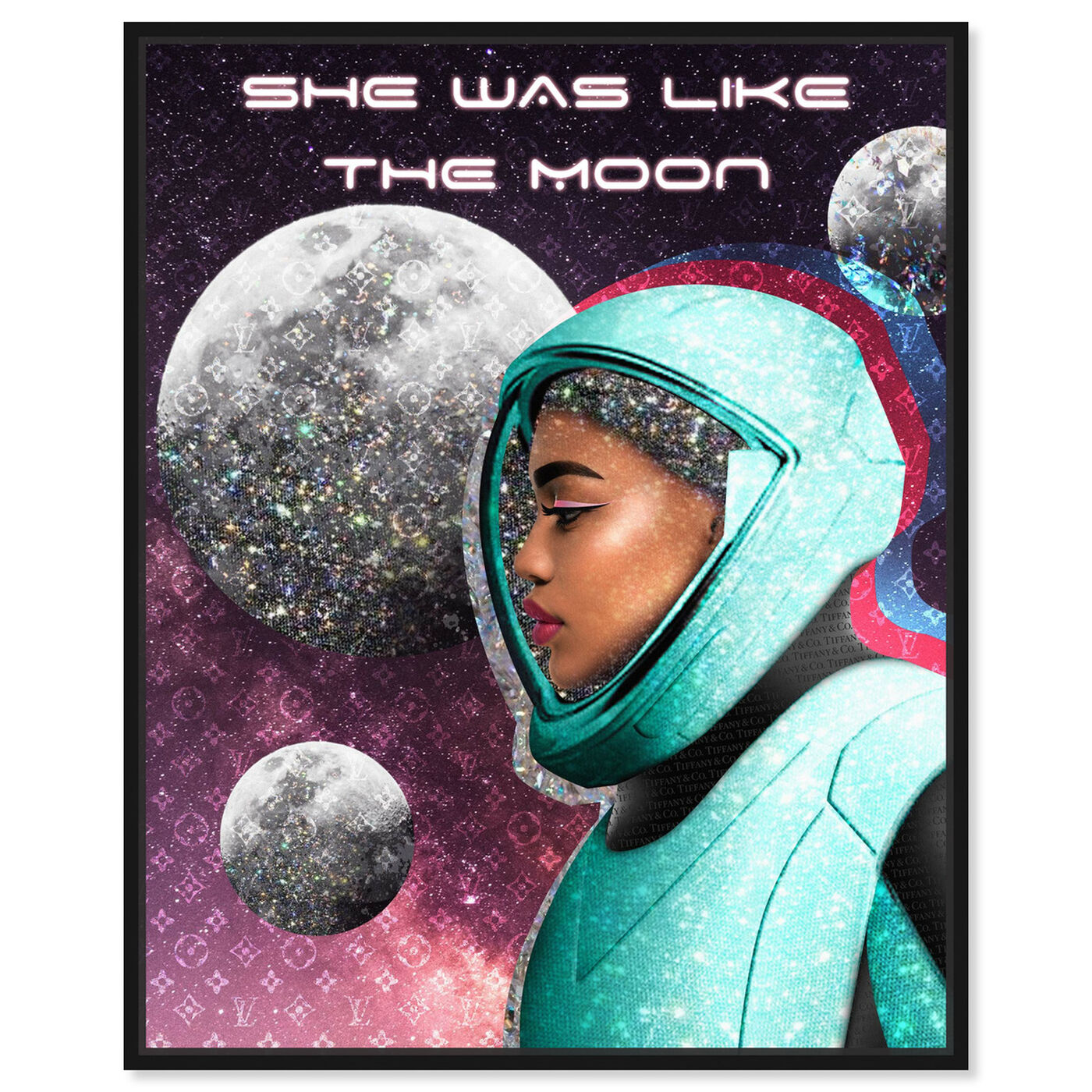 Front view of She was like the Moon featuring astronomy and space and astronaut art.