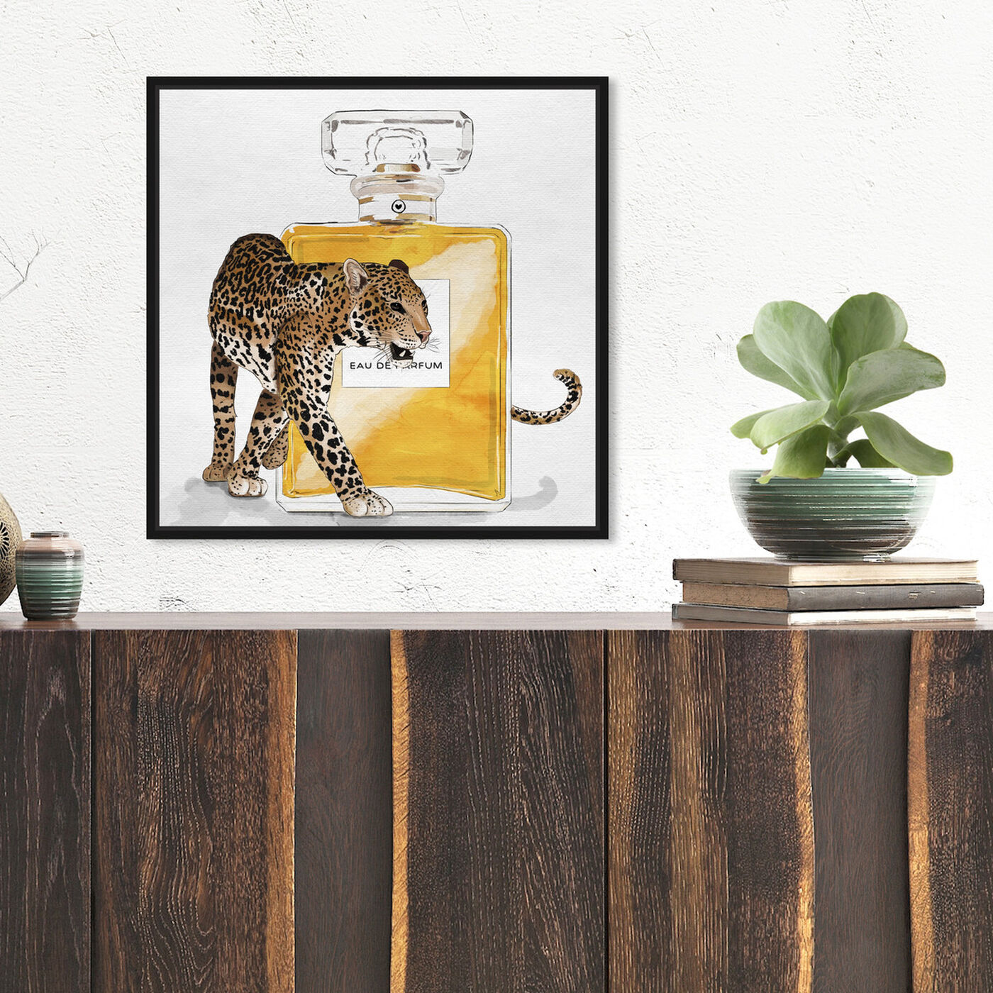 Hanging view of Exotic Perfume Leopard featuring fashion and glam and perfumes art.