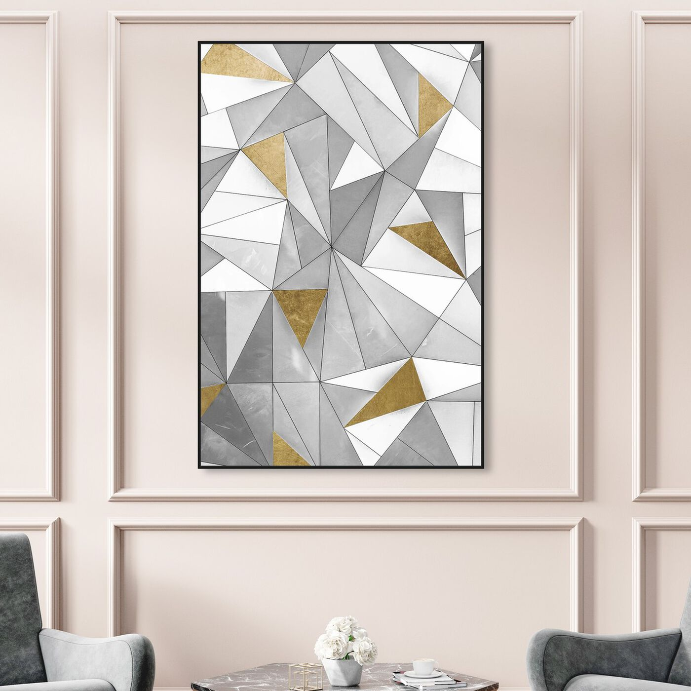 Hanging view of Triangular Wall featuring abstract and geometric art.