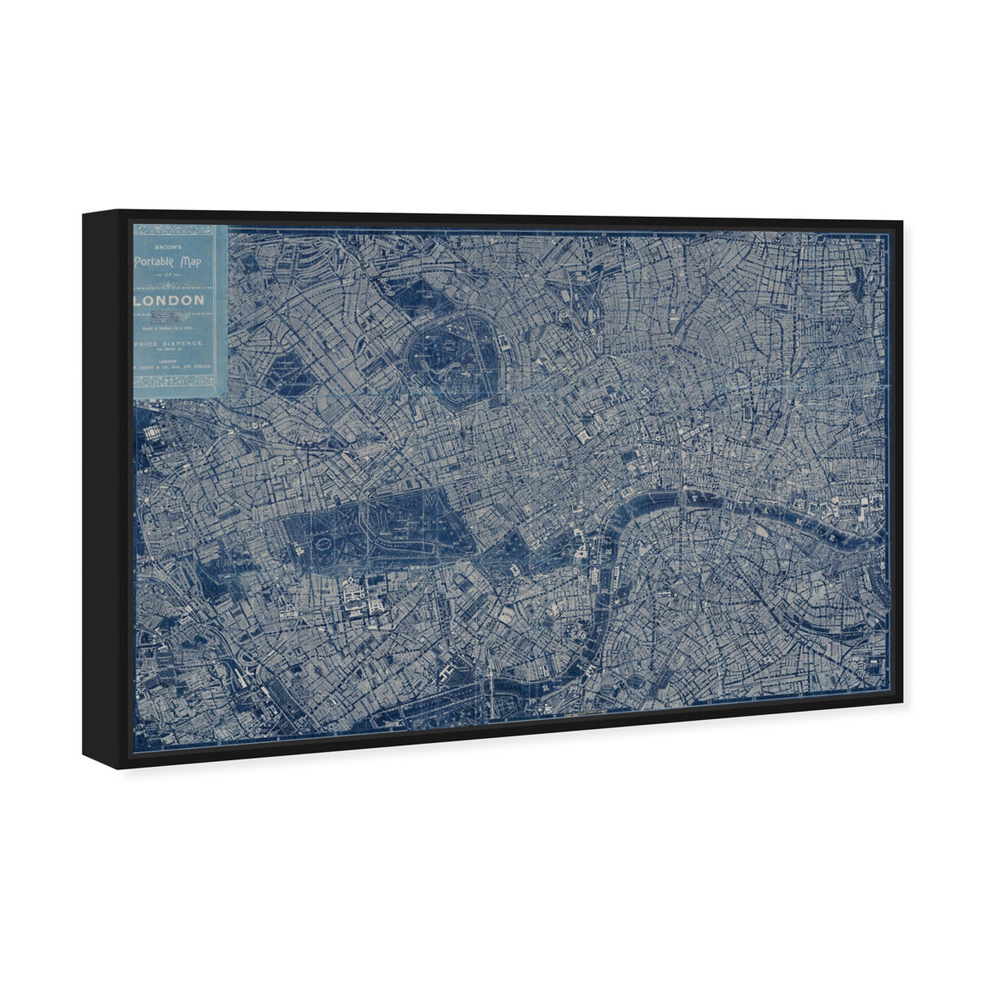 Angled view of London Map 1899 featuring maps and flags and european cities maps art.