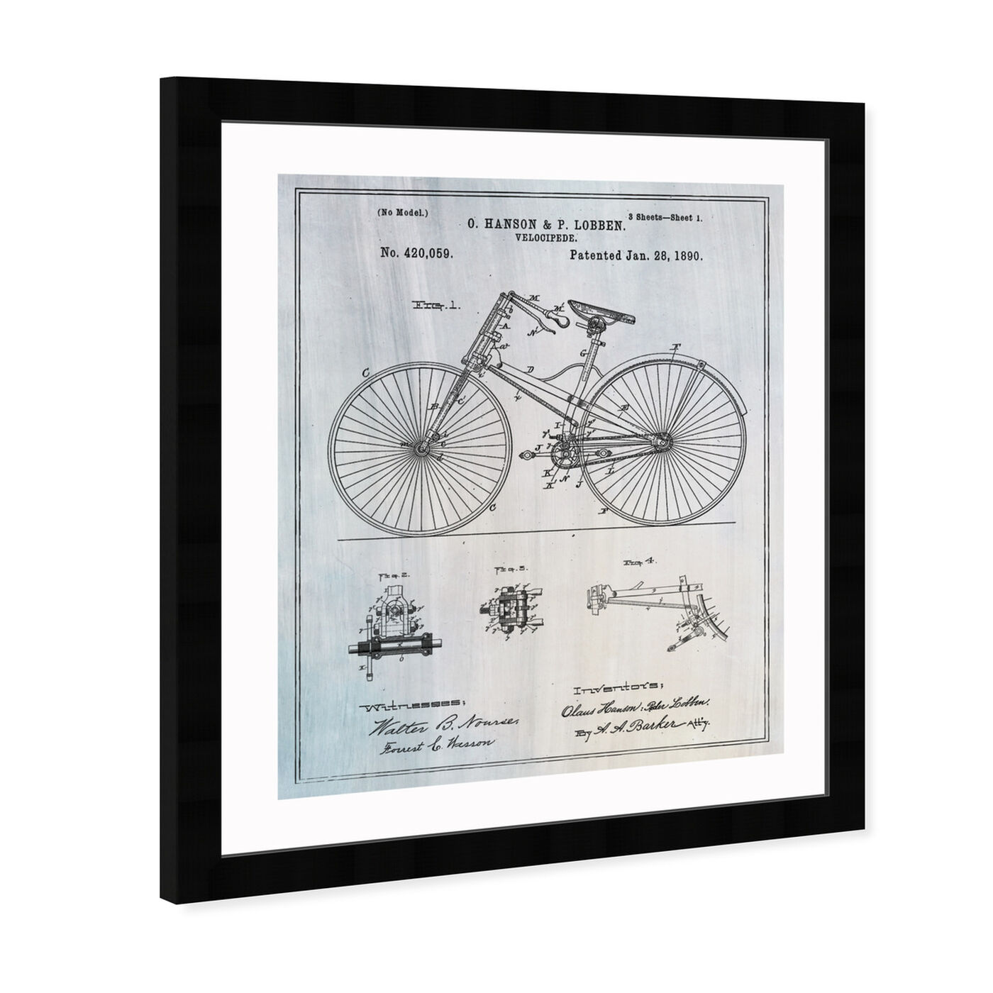 Angled view of Bicycle 1890 featuring transportation and bicycles art.