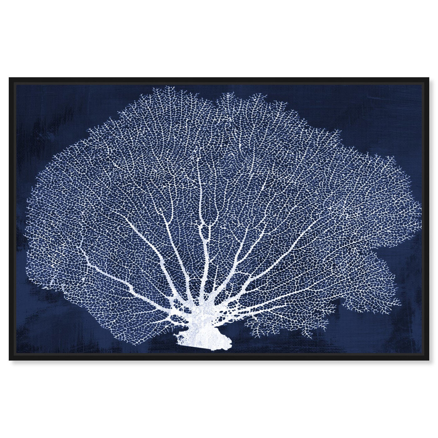 Front view of Coral Fan Cyanotype featuring nautical and coastal and marine life art.