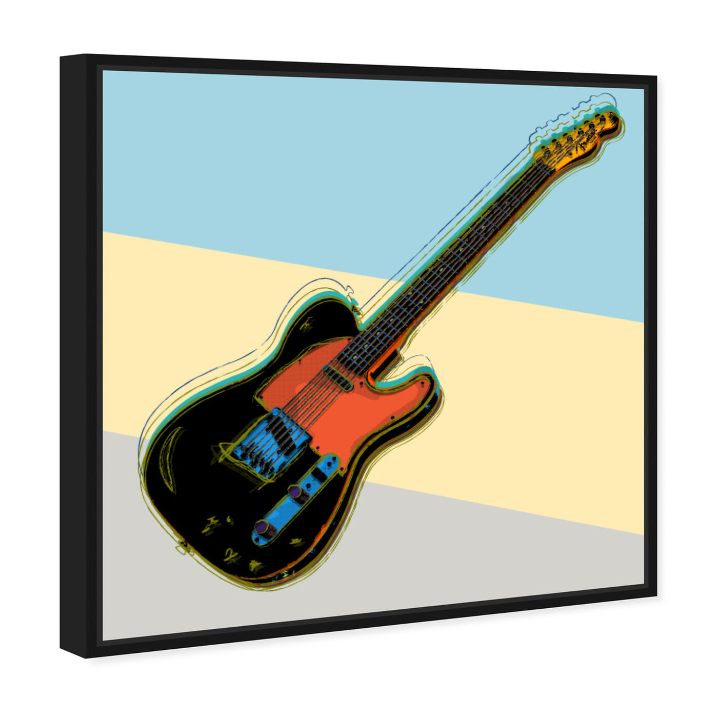 Angled view of Telecaster Visions featuring music and dance and music instruments art.