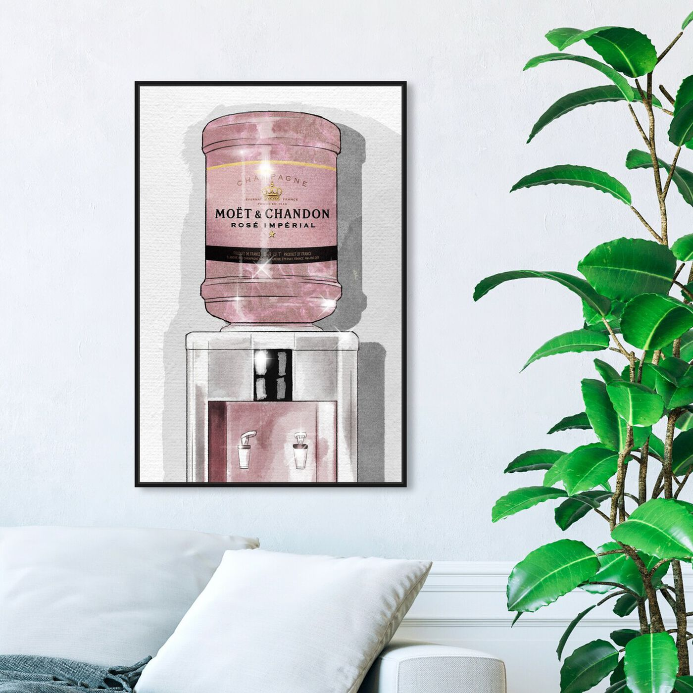 Hanging view of Rose Champagne Watercooler featuring fashion and glam and lifestyle art.