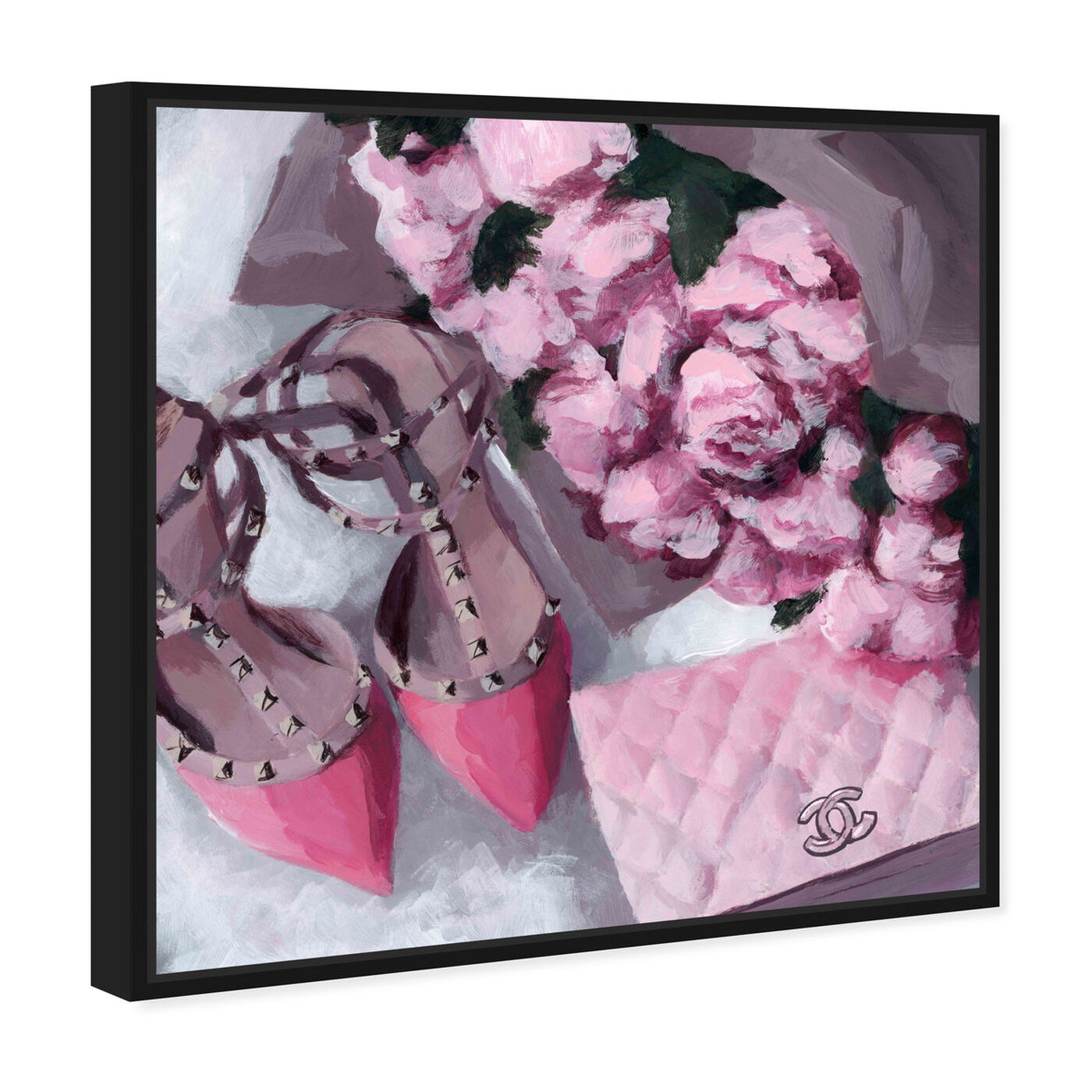 Angled view of All Things Pink featuring fashion and glam and handbags art.
