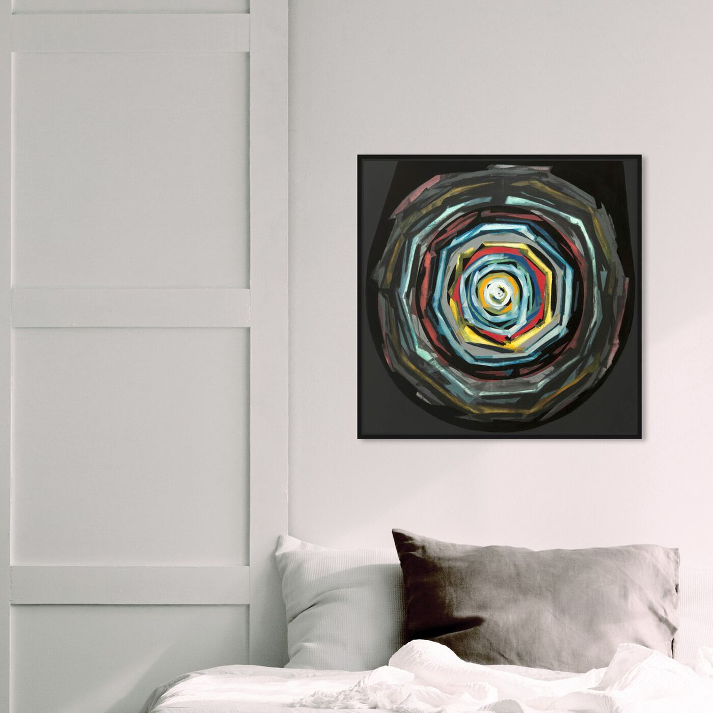 Hanging view of Sai - Pictis Spiralis II featuring abstract and paint art.