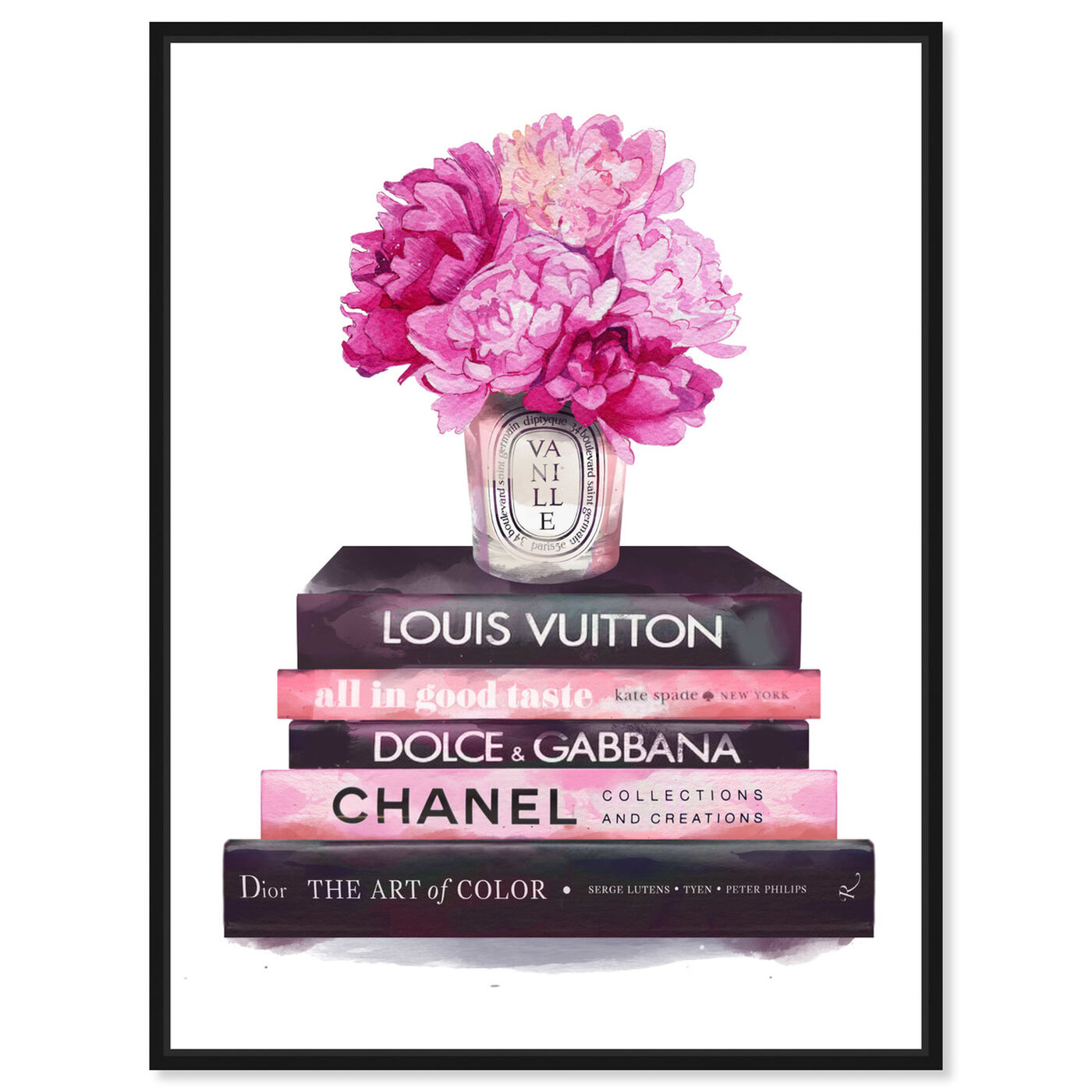 Front view of Fashion Base Books featuring fashion and glam and books art.