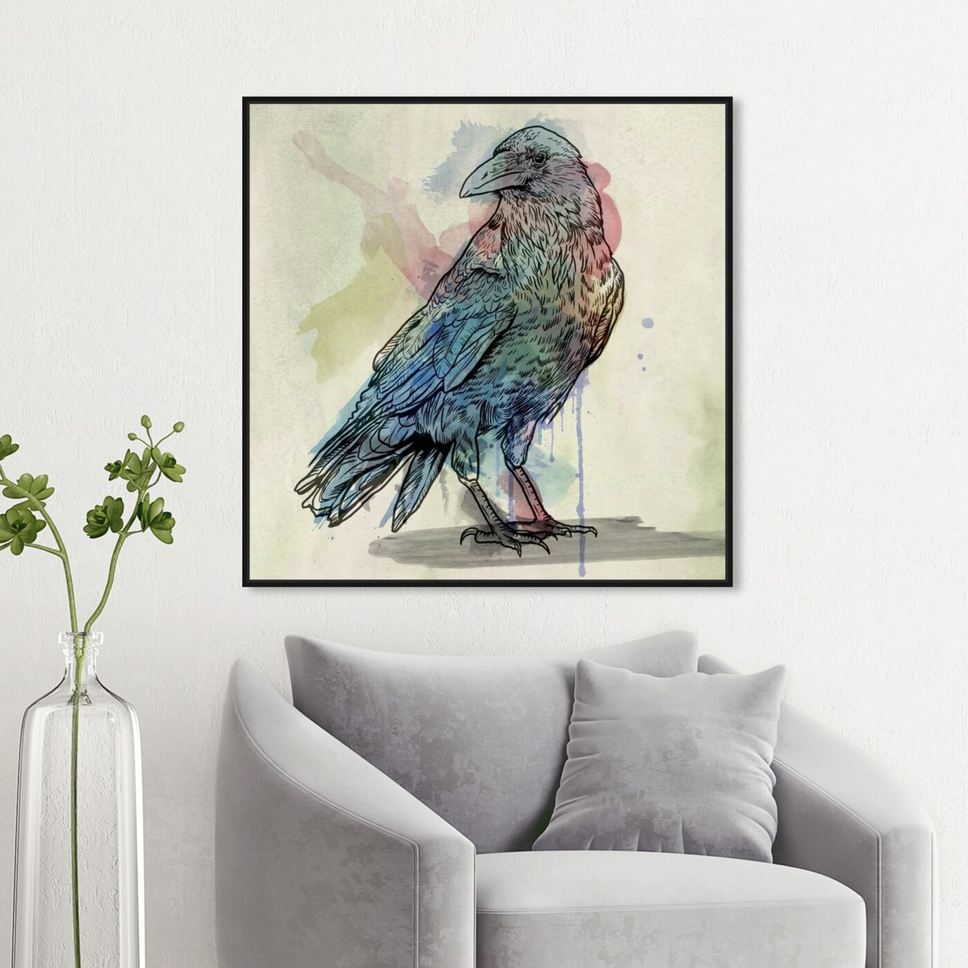 Hanging view of Flying Shadow featuring animals and birds art.