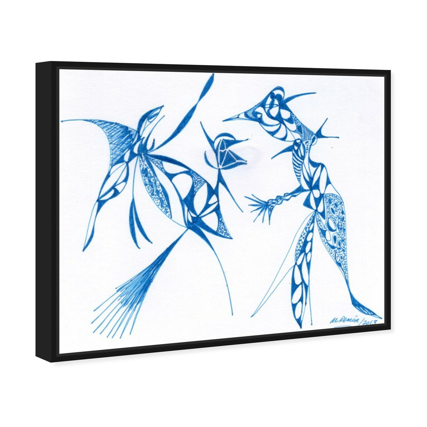 Angled view of Dueling Herons featuring abstract and shapes art.