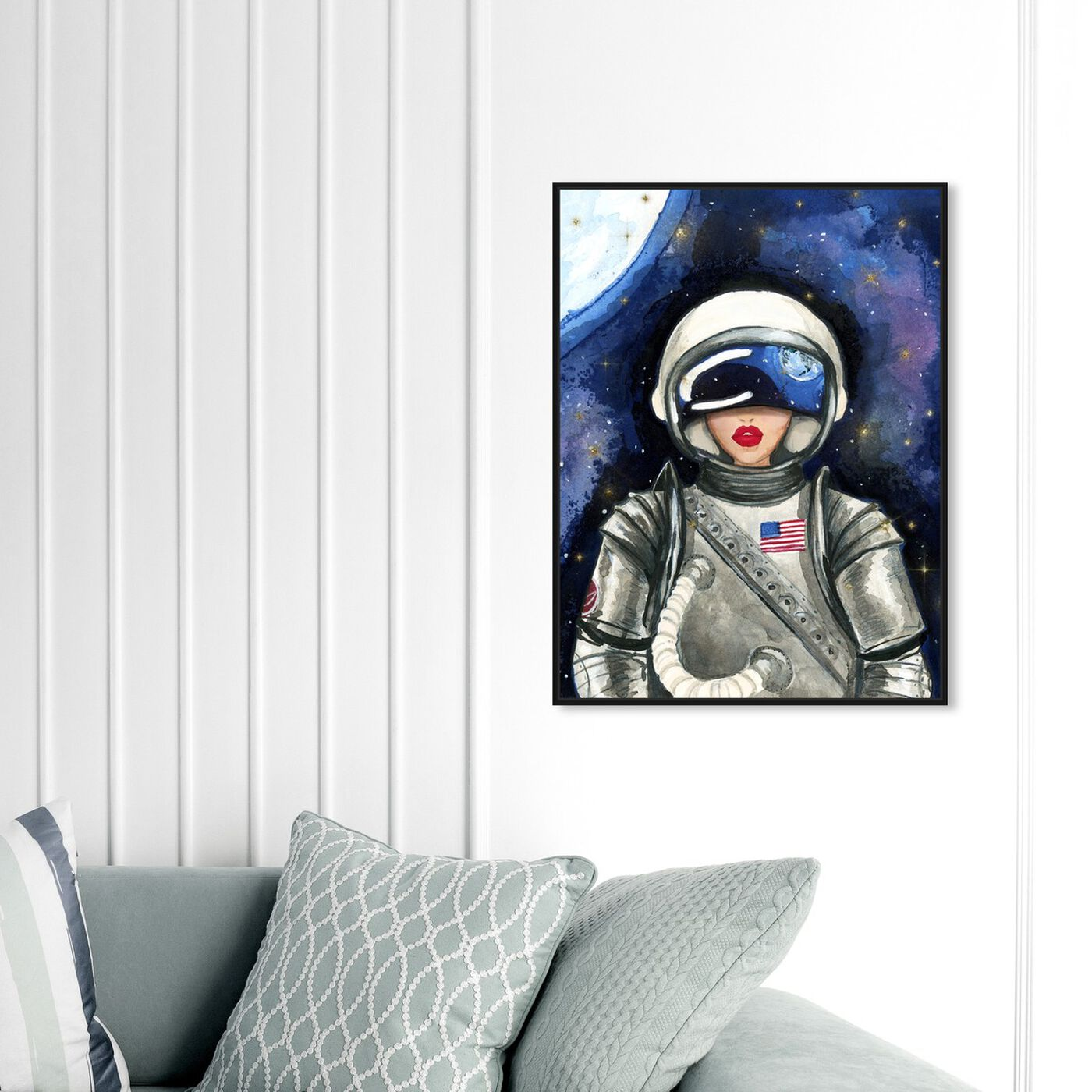 Hanging view of Astronaut Lips featuring fashion and glam and lips art.