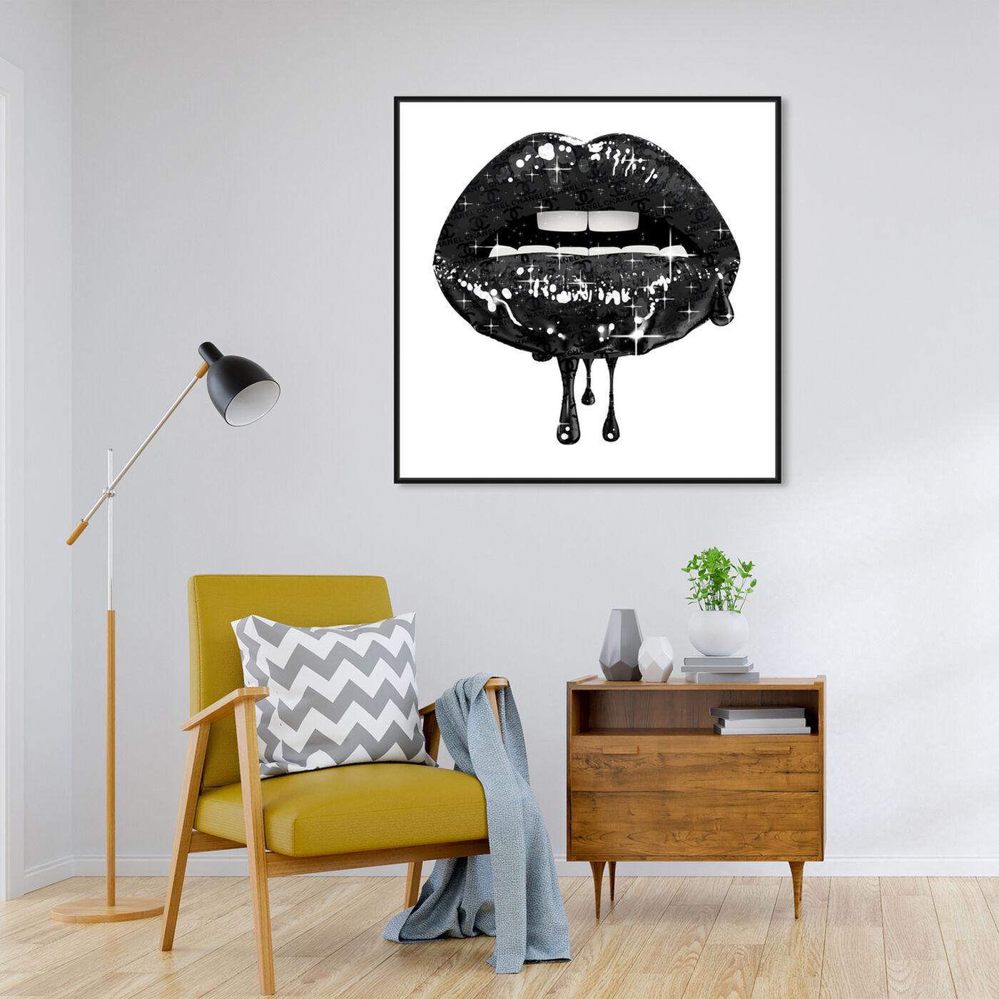 Hanging view of Noir Fashion Lips art.