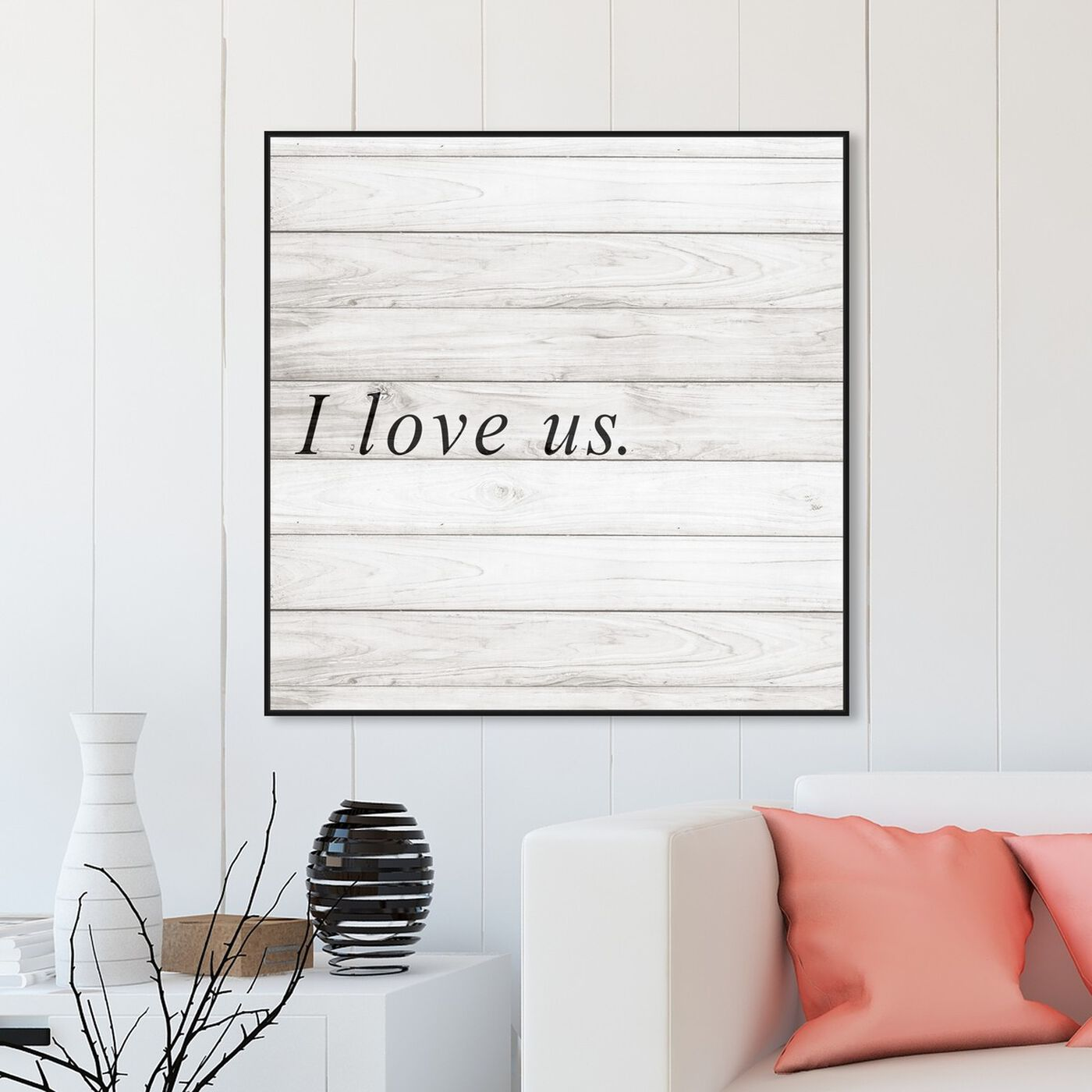 Hanging view of I Love Us Square featuring typography and quotes and love quotes and sayings art.