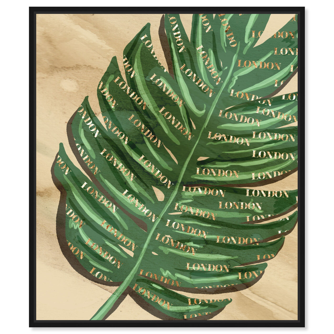 Front view of London Fashion Leaves featuring floral and botanical and botanicals art.