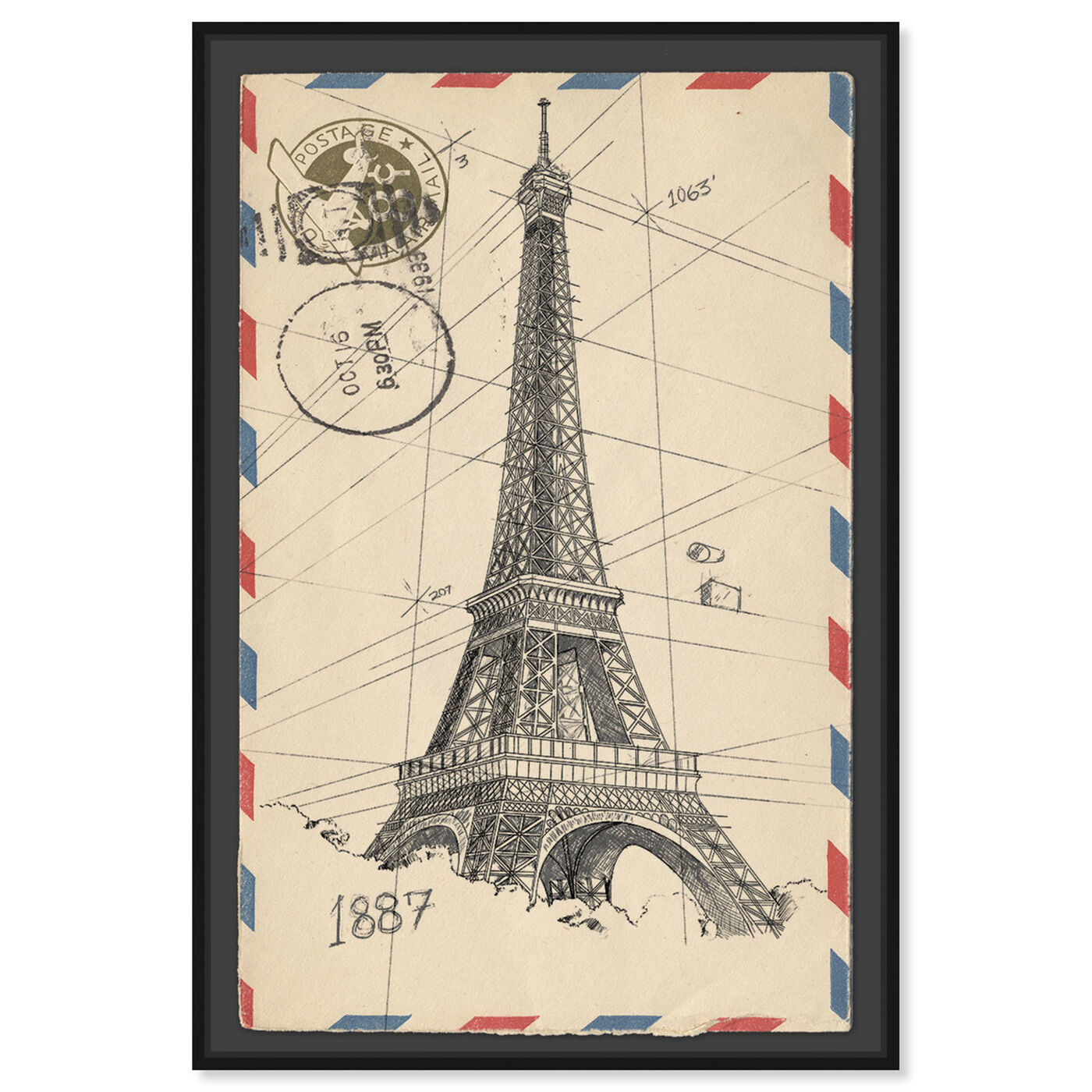 Front view of Eiffel Post featuring cities and skylines and european cities art.