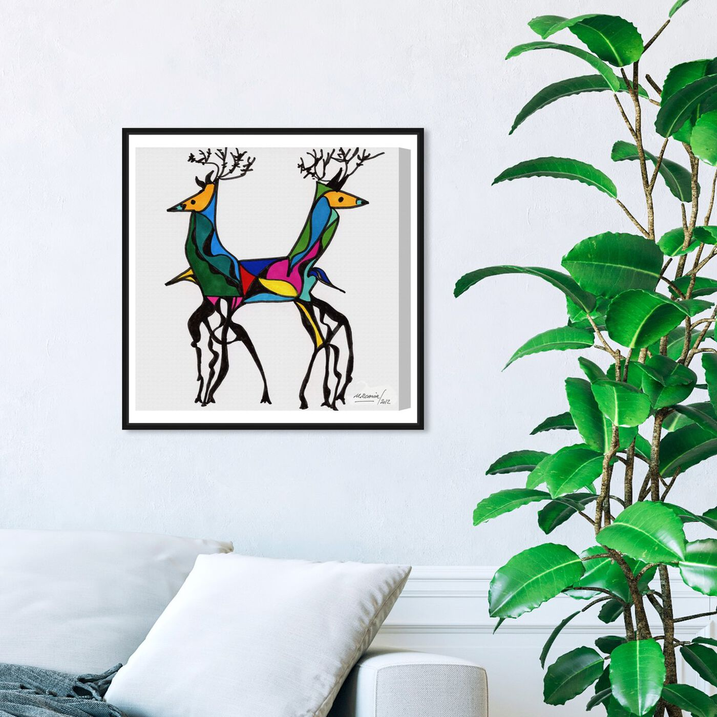 Hanging view of Be Deer featuring animals and zoo and wild animals art.