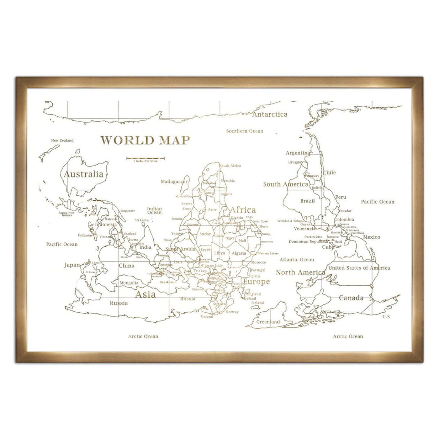 Upside-down Map of the World- Gold Metallic