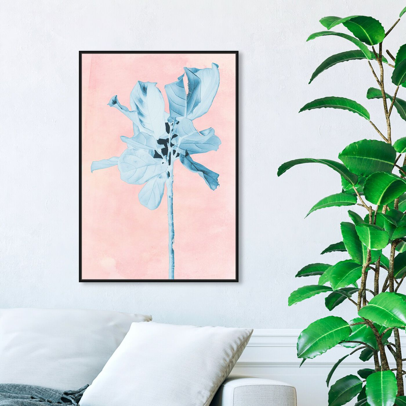 Hanging view of Fig Tree Leafy Blue featuring floral and botanical and florals art.