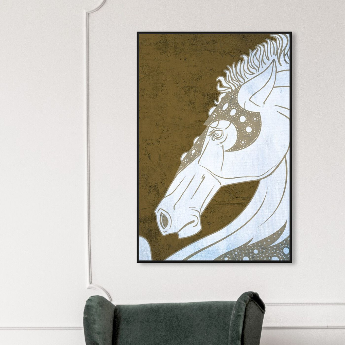 Hanging view of Gold Stallion featuring animals and farm animals art.