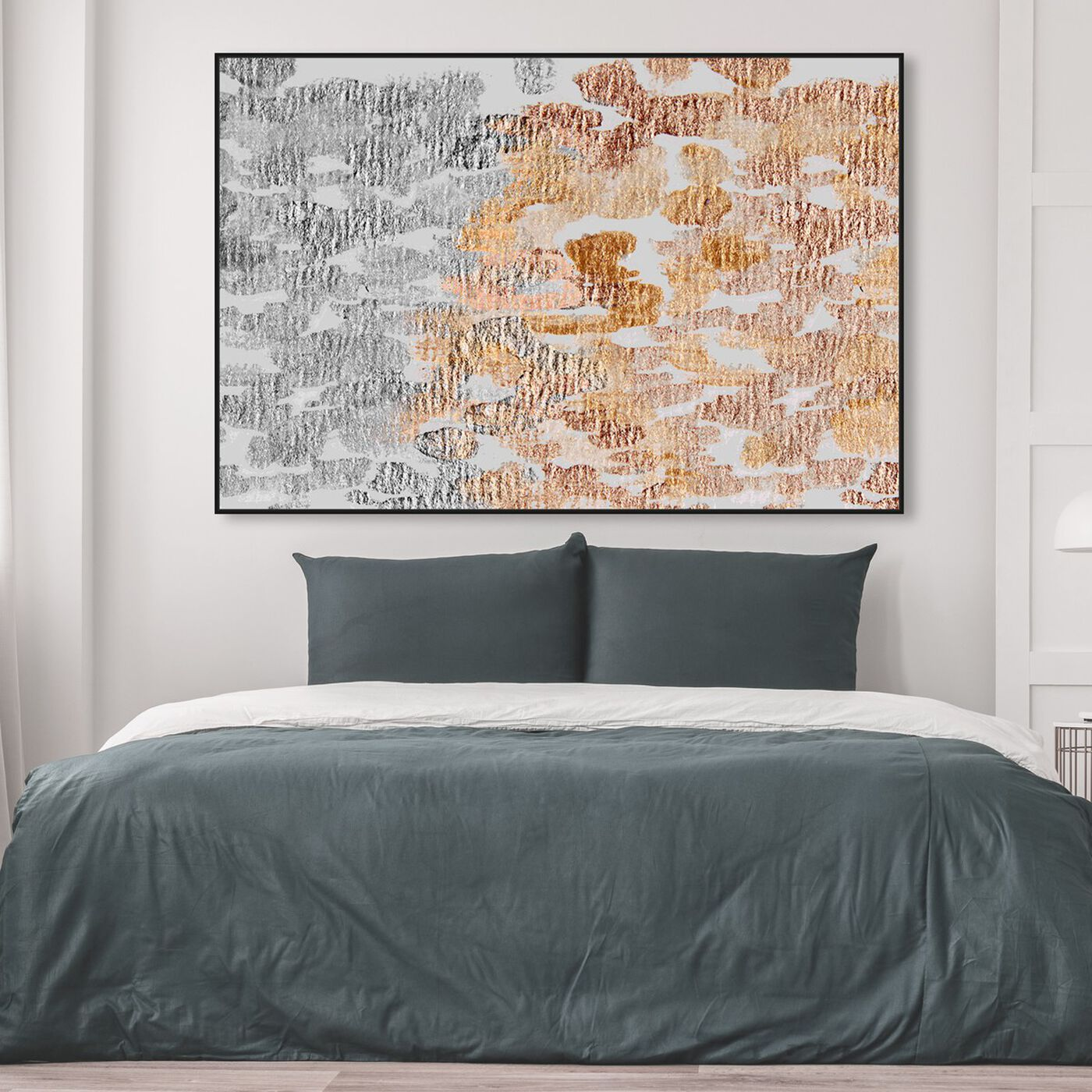 Hanging view of Rose Gold Vs Platinum featuring abstract and geometric art.