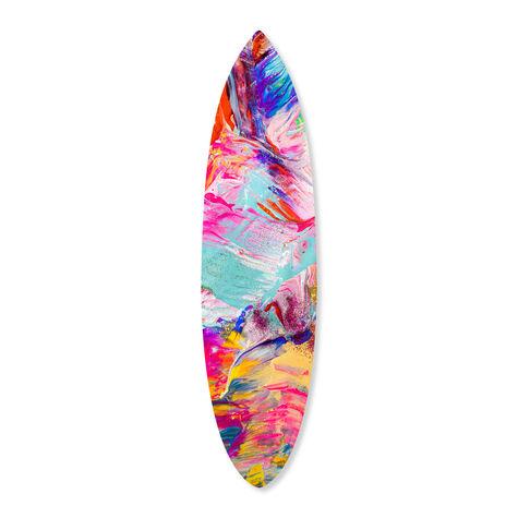 Bright Neon Love Surfboard Flat