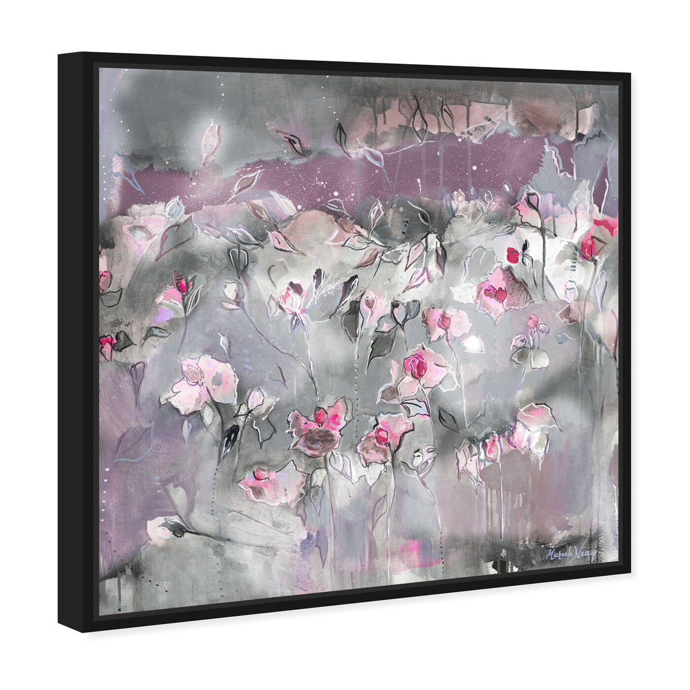 Angled view of Subtle Radiance Light by Michaela Nessim featuring abstract and flowers art.