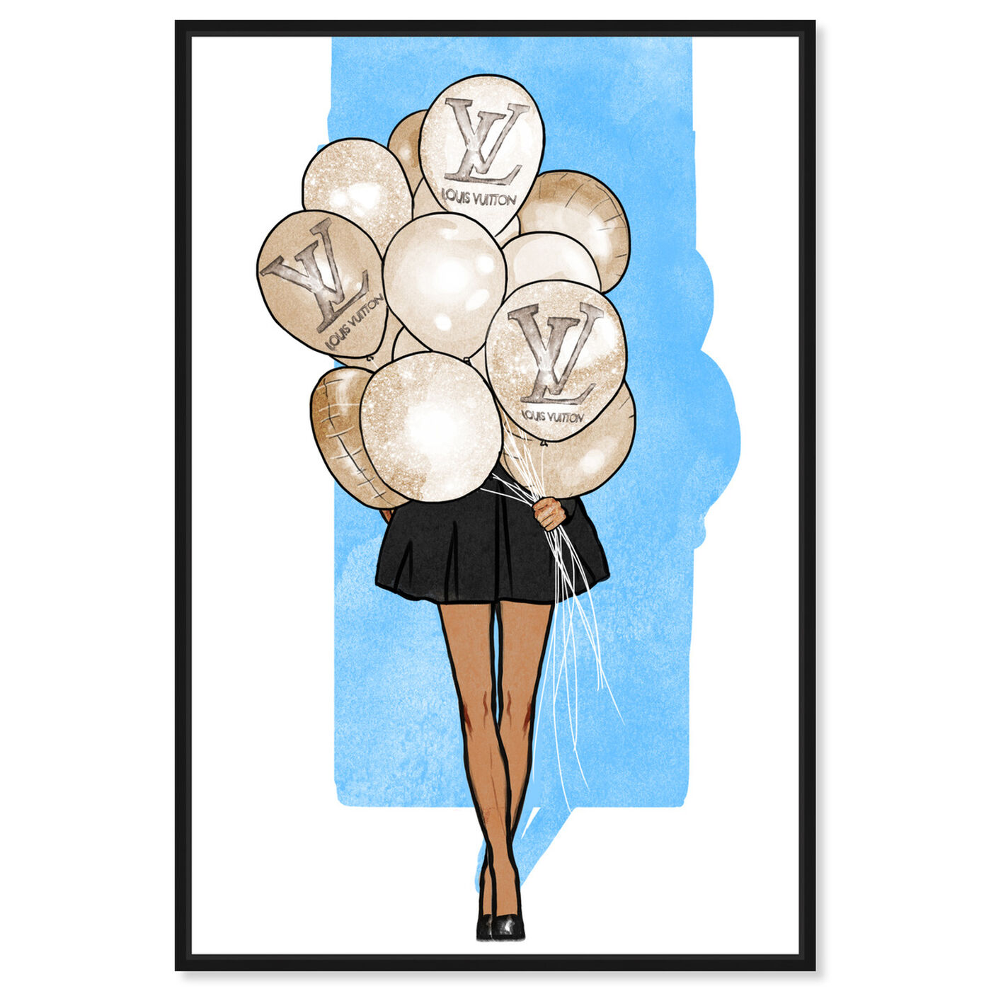 Front view of Balloon Girl Blue featuring fashion and glam and fashion art.