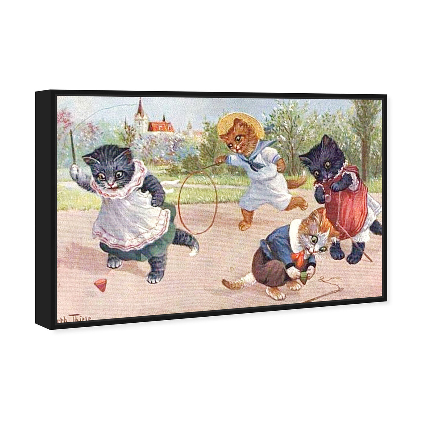 Angled view of Kittens Playing in the Park featuring animals and cats and kitties art.