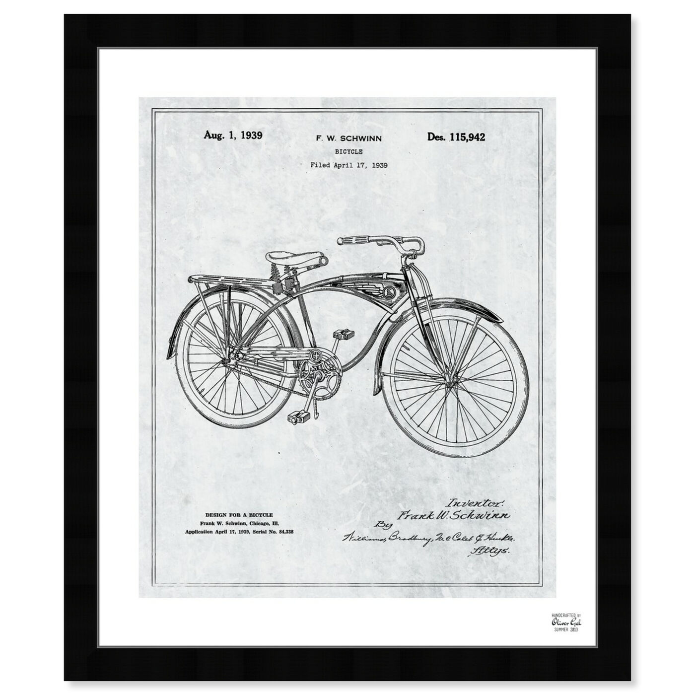 Front view of Schwinn Bicycle 1939 Grey featuring transportation and bicycles art.